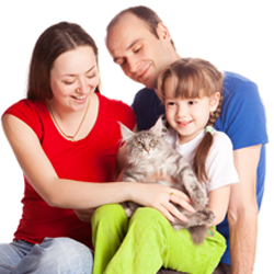Family with cat